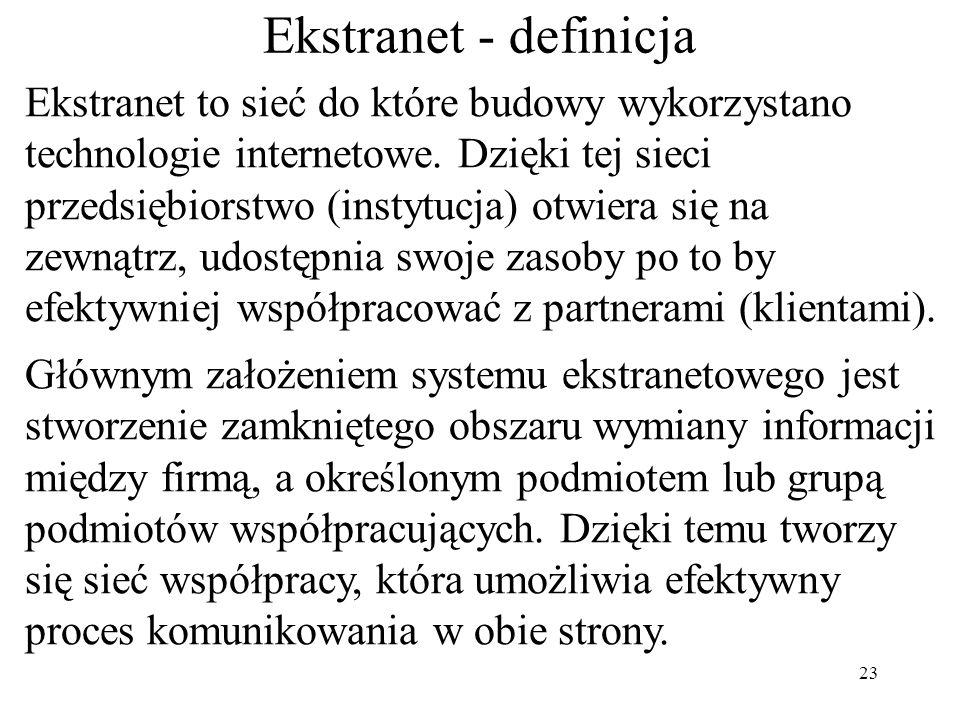 Ekstranet to rozwiązanie sieciowe (zorganizowane w obrębie tej samej fizycznej sieci co Internet) polegające na połączeniu dwóch lub większej liczby I
