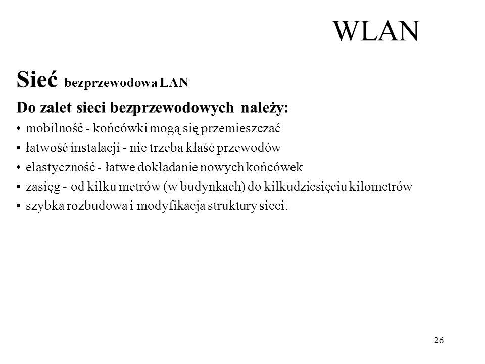 Sieć bezprzewodowa LAN (ang. Wireless LAN, czyli WLAN) to sieć lokalna zrealizowana bez użycia przewodów. Używane dziś powszechnie przewodowe sieci LA