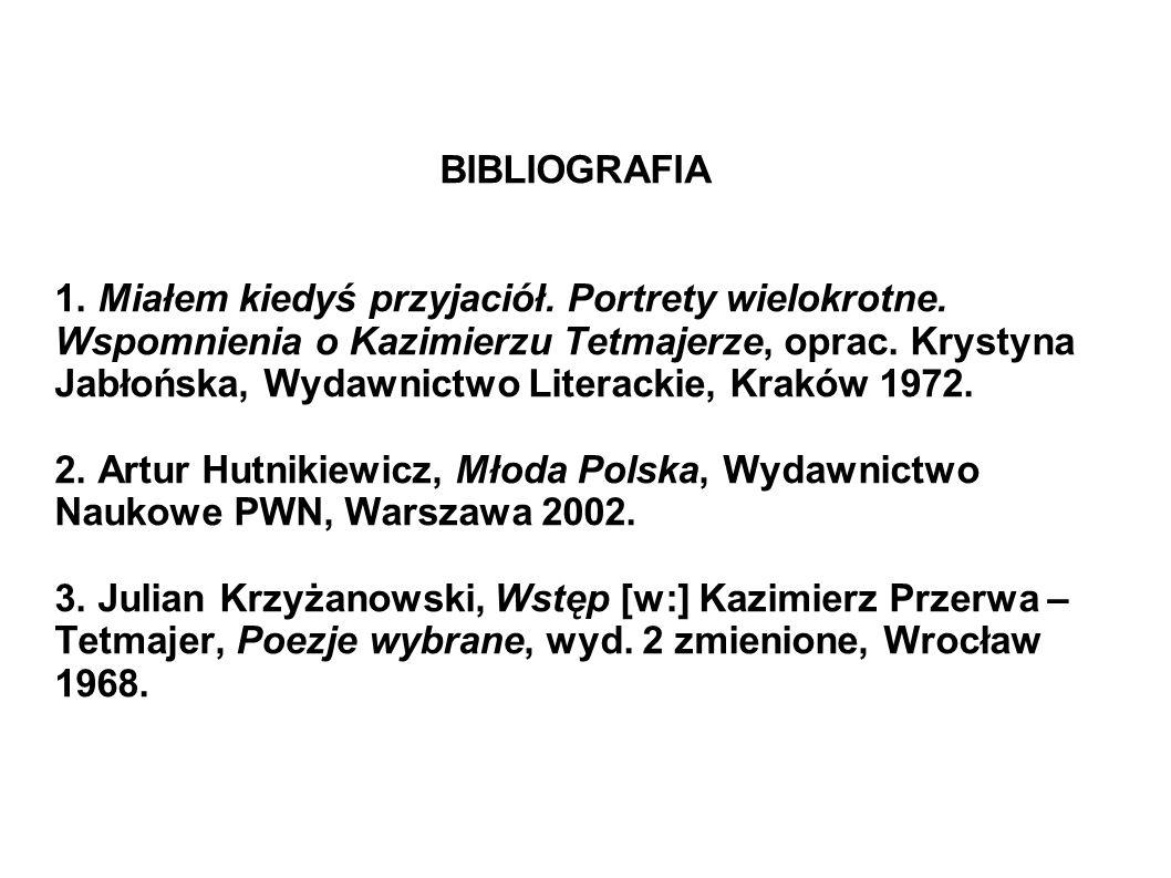 BIBLIOGRAFIA 1. Miałem kiedyś przyjaciół. Portrety wielokrotne. Wspomnienia o Kazimierzu Tetmajerze, oprac. Krystyna Jabłońska, Wydawnictwo Literackie