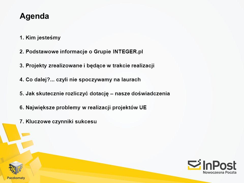 Agenda 1. Kim jesteśmy 2. Podstawowe informacje o Grupie INTEGER.pl 3. Projekty zrealizowane i będące w trakcie realizacji 4. Co dalej?... czyli nie s