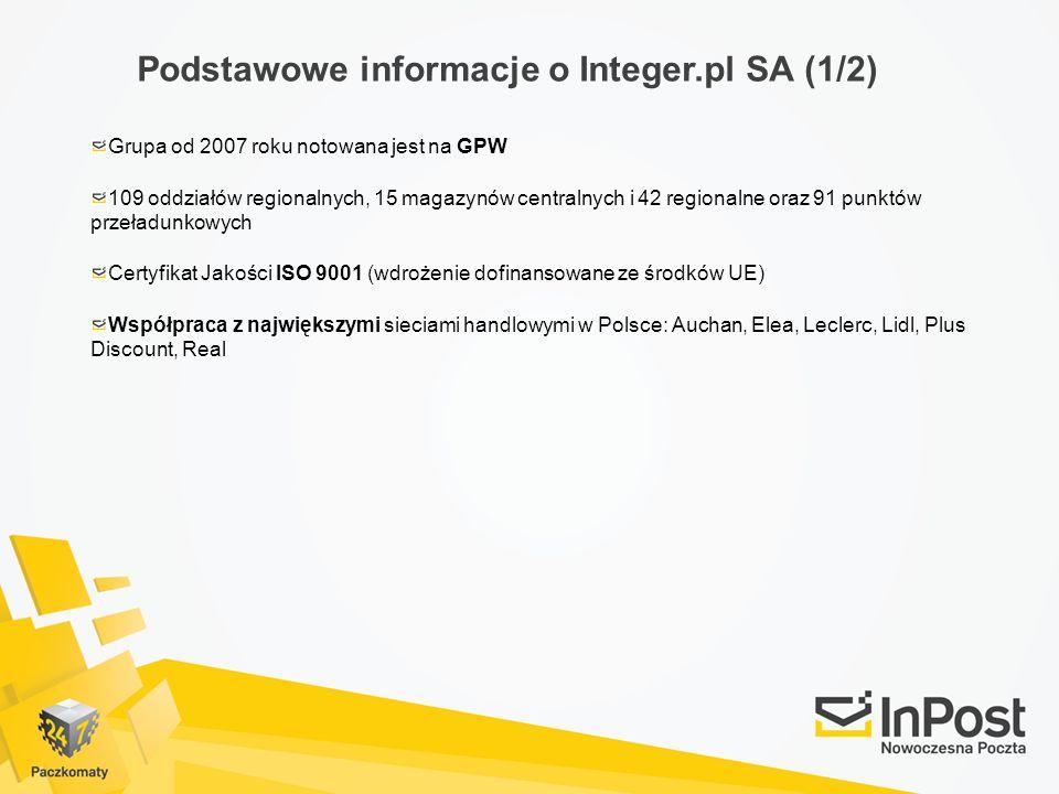 Podstawowe informacje o Integer.pl SA (1/2) Grupa od 2007 roku notowana jest na GPW 109 oddziałów regionalnych, 15 magazynów centralnych i 42 regional