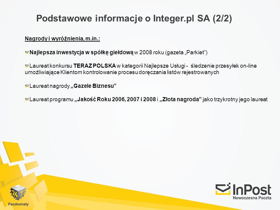 Podstawowe informacje o Integer.pl SA (2/2) Nagrody i wyróżnienia, m.in.: Najlepsza inwestycja w spółkę giełdową w 2008 roku (gazeta Parkiet) Laureat konkursu TERAZ POLSKA w kategorii Najlepsze Usługi - śledzenie przesyłek on-line umożliwiające Klientom kontrolowanie procesu doręczania listów rejestrowanych Laureat nagrody Gazele Biznesu Laureat programu Jakość Roku 2006, 2007 i 2008 i Złota nagroda jako trzykrotny jego laureat