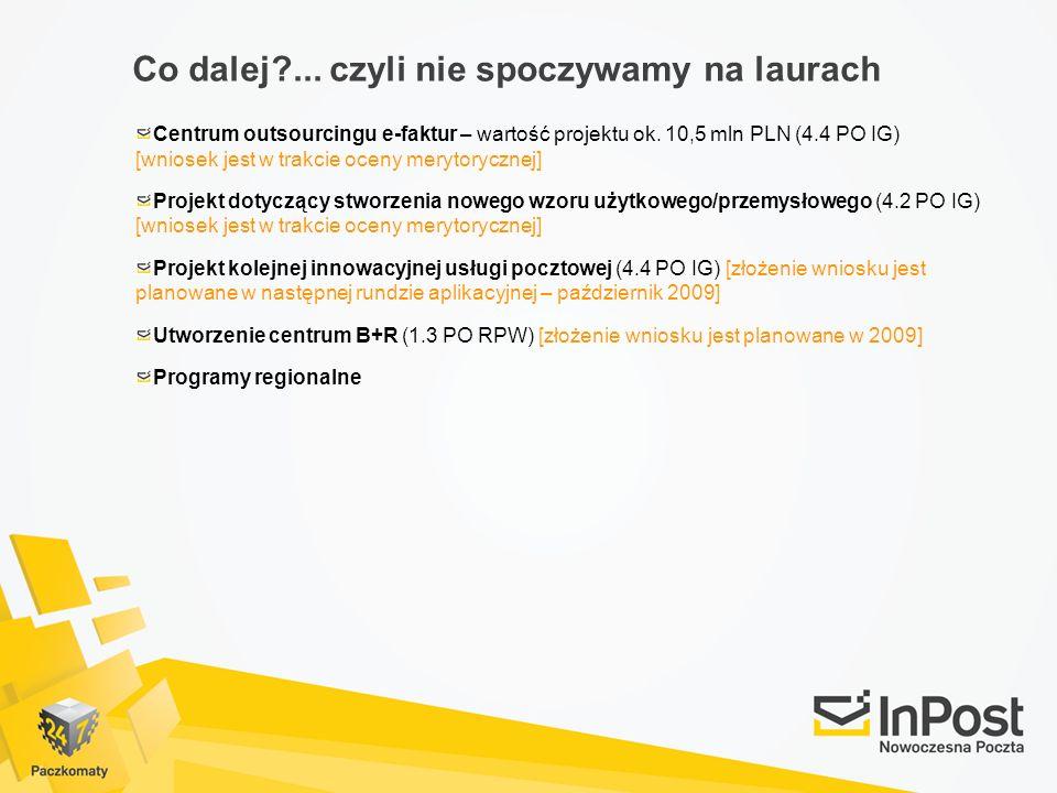 Co dalej?... czyli nie spoczywamy na laurach Centrum outsourcingu e-faktur – wartość projektu ok. 10,5 mln PLN (4.4 PO IG) [wniosek jest w trakcie oce