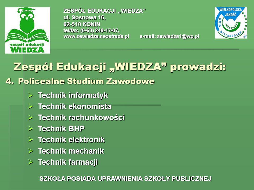 Zespół Edukacji WIEDZA prowadzi: ZESPÓŁ EDUKACJI WIEDZA ul.