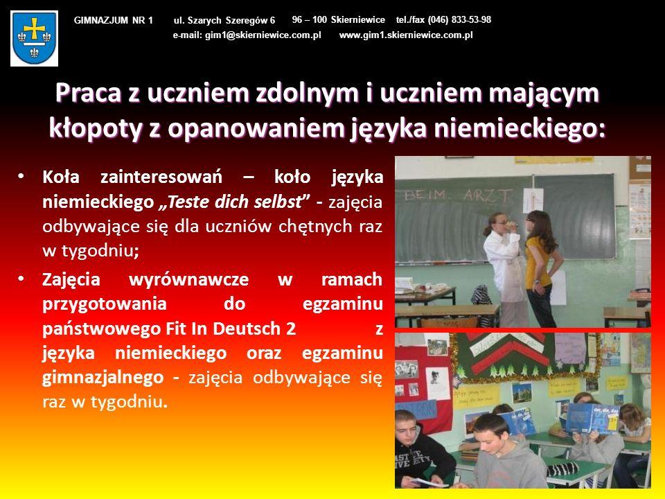 Praca z uczniem zdolnym i uczniem mającym kłopoty z opanowaniem języka niemieckiego: Koła zainteresowań – koło języka niemieckiego Teste dich selbst -