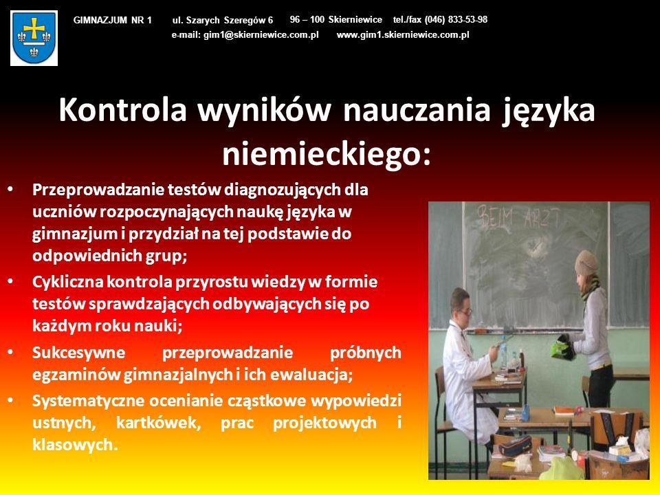 Kontrola wyników nauczania języka niemieckiego: Przeprowadzanie testów diagnozujących dla uczniów rozpoczynających naukę języka w gimnazjum i przydzia