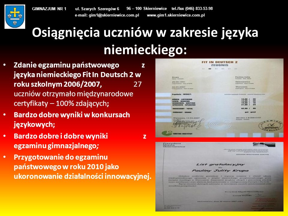 Osiągnięcia uczniów w zakresie języka niemieckiego: Zdanie egzaminu państwowego z języka niemieckiego Fit In Deutsch 2 w roku szkolnym 2006/2007, 27 u