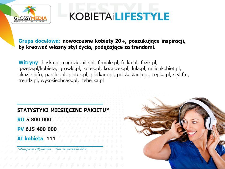 STATYSTYKI MIESIĘCZNE PAKIETU*: RU 3 100 000 PV 30 900 000 AI kobieta 111 Grupa docelowa: matki oraz kobiety, które dopiero nimi będą.