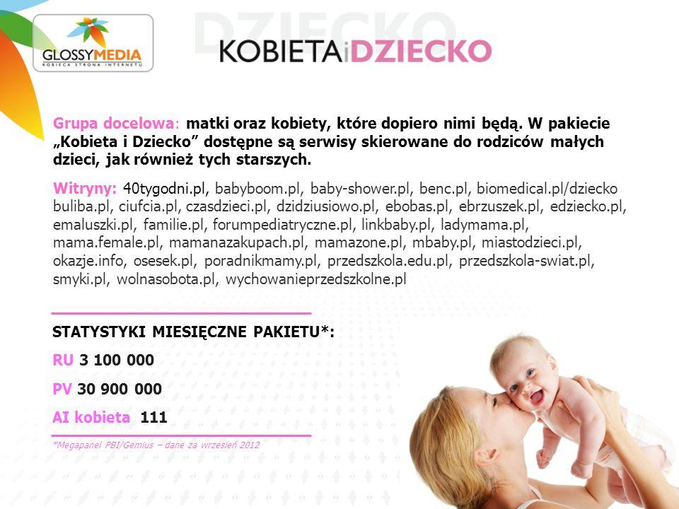 STATYSTYKI MIESIĘCZNE PAKIETU*: RU 3 100 000 PV 30 900 000 AI kobieta 111 Grupa docelowa: matki oraz kobiety, które dopiero nimi będą. W pakiecie Kobi