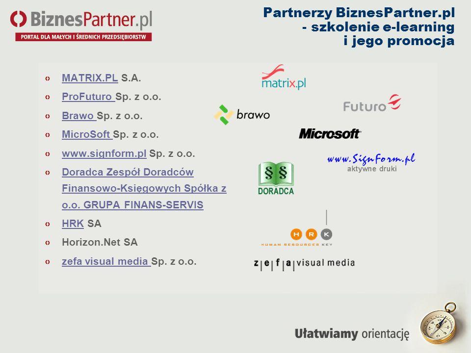Partnerzy BiznesPartner.pl - szkolenie e-learning i jego promocja MATRIX.PLMATRIX.PL S.A. ProFuturo ProFuturo Sp. z o.o. Brawo Brawo Sp. z o.o. MicroS