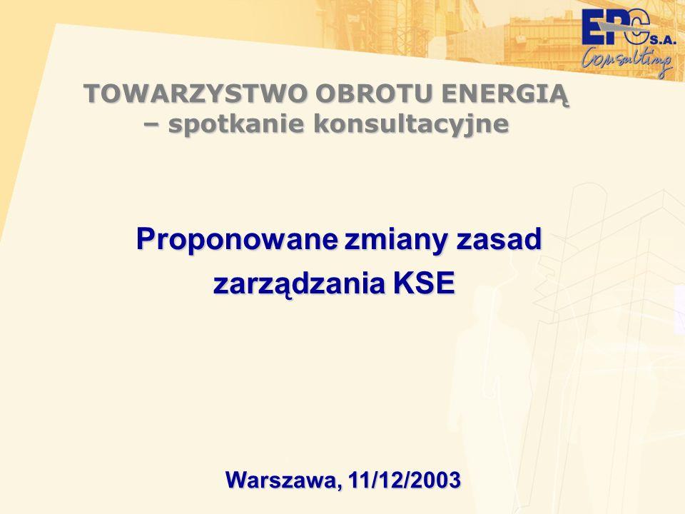TOWARZYSTWO OBROTU ENERGIĄ – spotkanie konsultacyjne Warszawa, 11/12/2003 Proponowane zmiany zasad zarządzania KSE