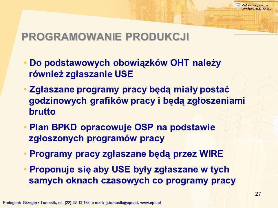 27 Do podstawowych obowiązków OHT należy również zgłaszanie USE Zgłaszane programy pracy będą miały postać godzinowych grafików pracy i będą zgłoszeniami brutto Plan BPKD opracowuje OSP na podstawie zgłoszonych programów pracy Programy pracy zgłaszane będą przez WIRE Proponuje się aby USE były zgłaszane w tych samych oknach czasowych co programy pracy PROGRAMOWANIE PRODUKCJI Prelegent: Grzegorz Tomasik, tel.