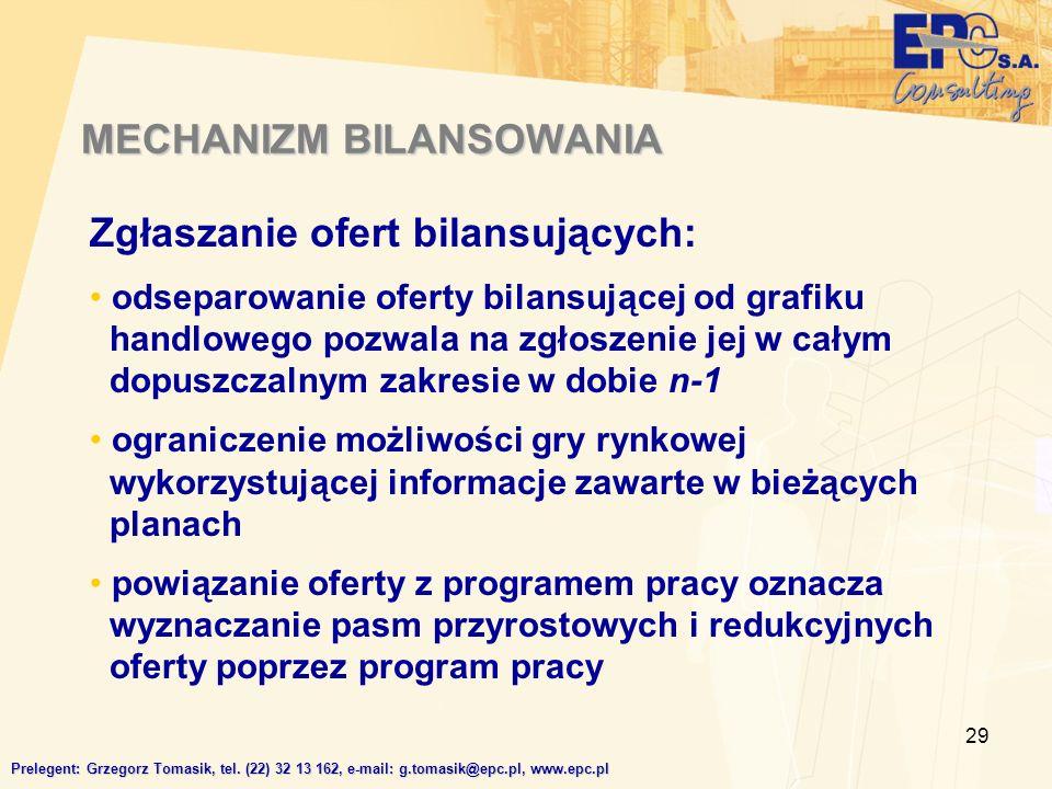 29 MECHANIZM BILANSOWANIA Prelegent: Grzegorz Tomasik, tel.