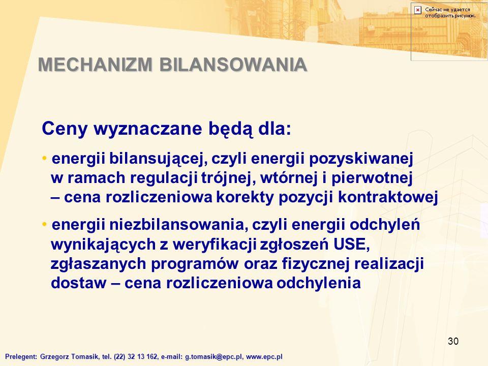 30 MECHANIZM BILANSOWANIA Prelegent: Grzegorz Tomasik, tel.