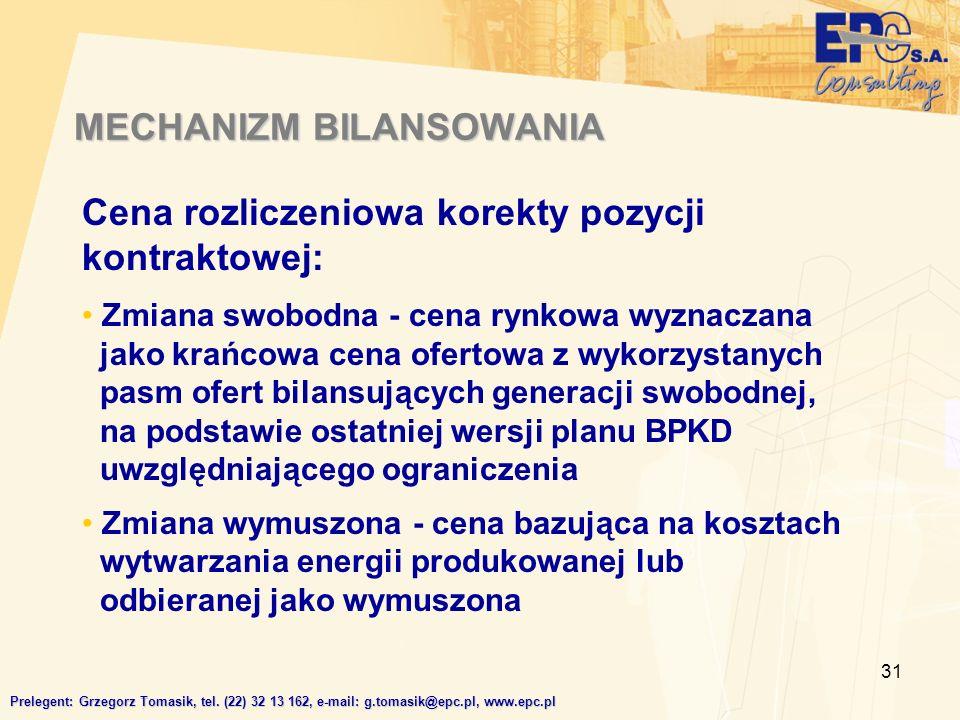 31 MECHANIZM BILANSOWANIA Prelegent: Grzegorz Tomasik, tel.
