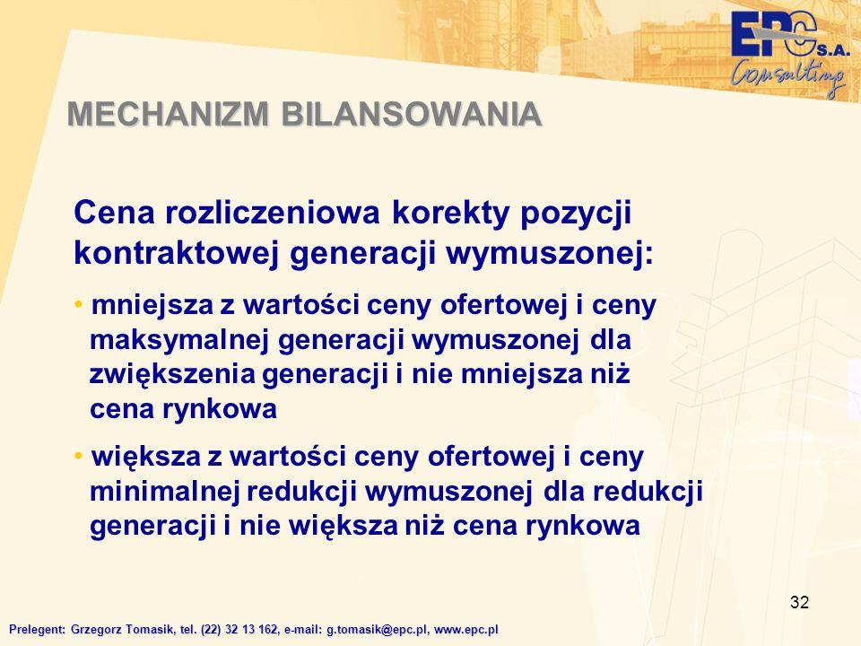 32 MECHANIZM BILANSOWANIA Prelegent: Grzegorz Tomasik, tel.
