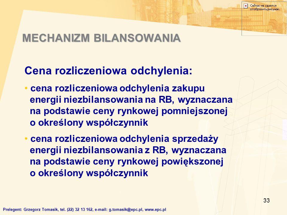 33 MECHANIZM BILANSOWANIA Prelegent: Grzegorz Tomasik, tel.