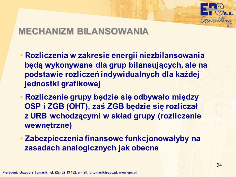 34 MECHANIZM BILANSOWANIA Prelegent: Grzegorz Tomasik, tel.