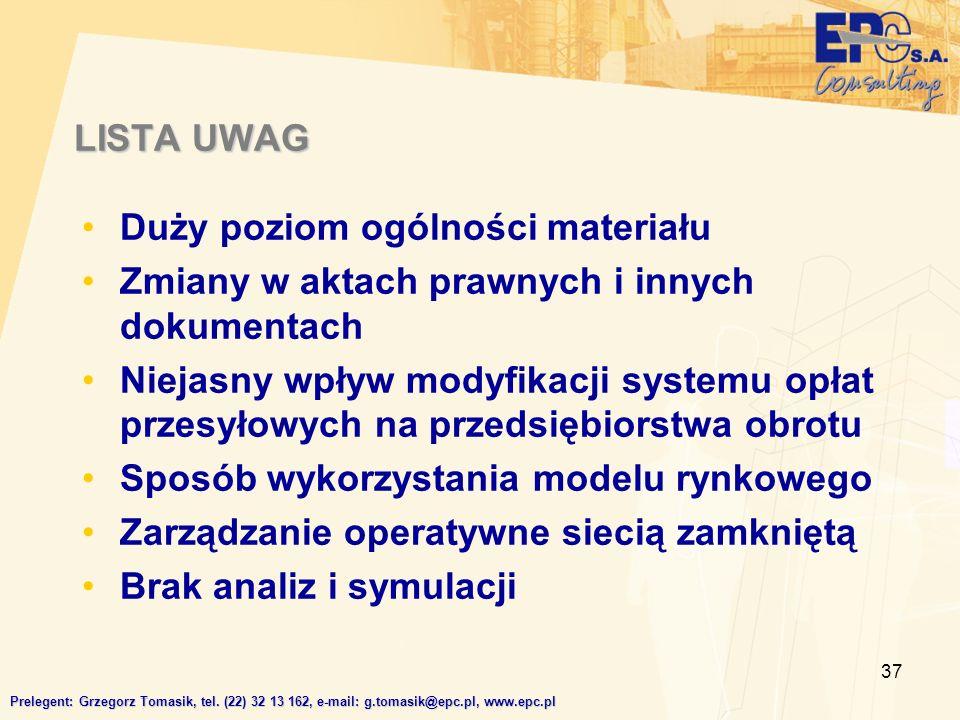 37 LISTA UWAG Prelegent: Grzegorz Tomasik, tel.