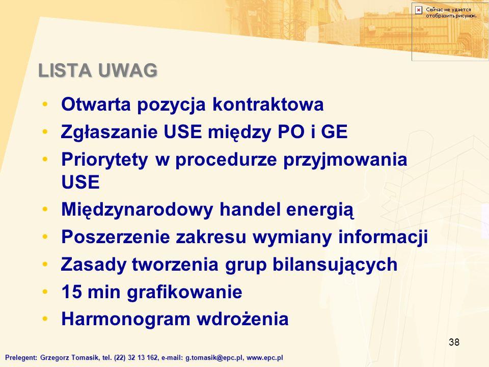 38 LISTA UWAG Prelegent: Grzegorz Tomasik, tel.