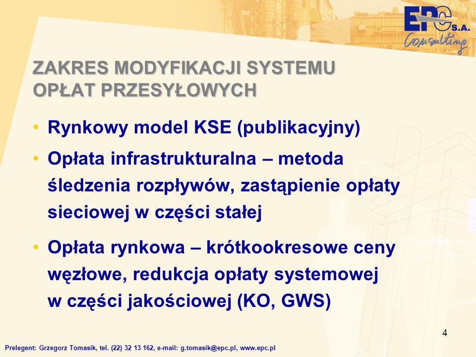 4 ZAKRES MODYFIKACJI SYSTEMU OPŁAT PRZESYŁOWYCH Rynkowy model KSE (publikacyjny) Opłata infrastrukturalna – metoda śledzenia rozpływów, zastąpienie opłaty sieciowej w części stałej Opłata rynkowa – krótkookresowe ceny węzłowe, redukcja opłaty systemowej w części jakościowej (KO, GWS) Prelegent: Grzegorz Tomasik, tel.