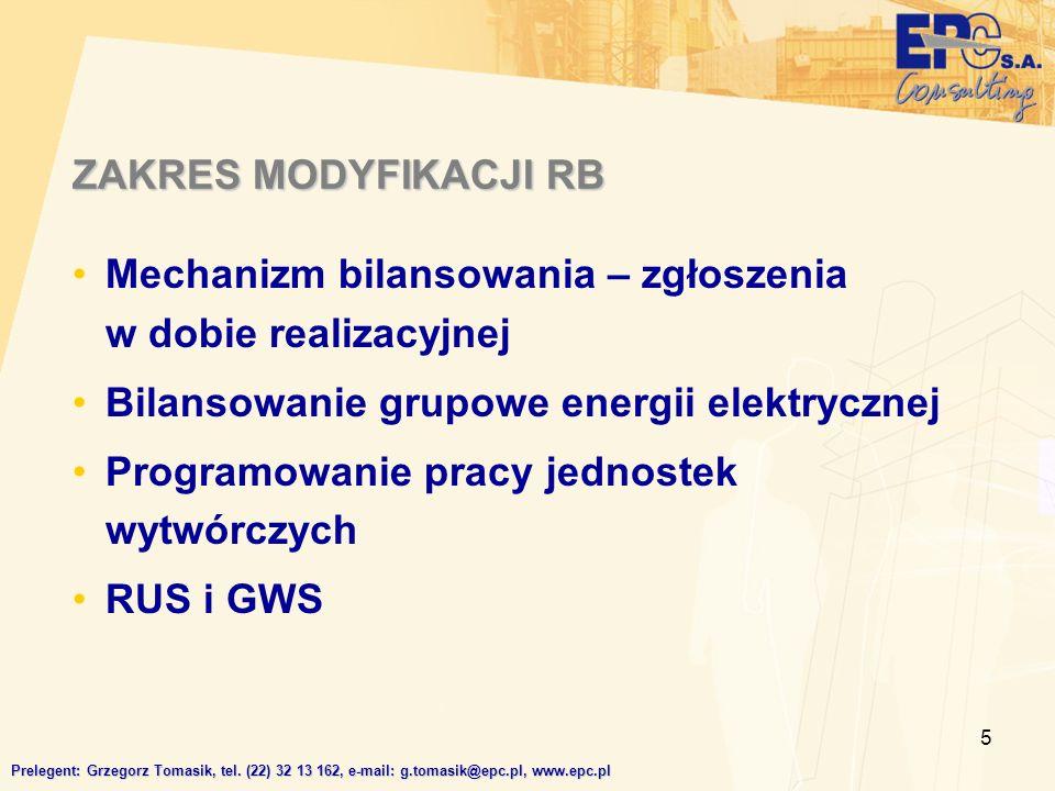 5 ZAKRES MODYFIKACJI RB Mechanizm bilansowania – zgłoszenia w dobie realizacyjnej Bilansowanie grupowe energii elektrycznej Programowanie pracy jednostek wytwórczych RUS i GWS Prelegent: Grzegorz Tomasik, tel.