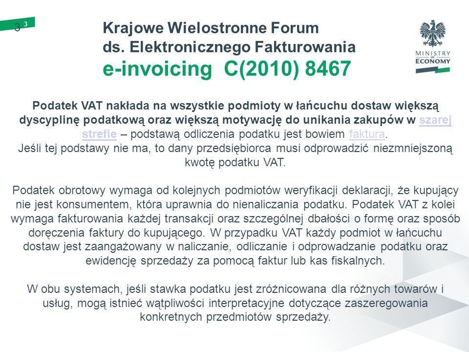 3 3 Krajowe Wielostronne Forum ds. Elektronicznego Fakturowania e-invoicing C(2010) 8467 Podatek VAT nakłada na wszystkie podmioty w łańcuchu dostaw w