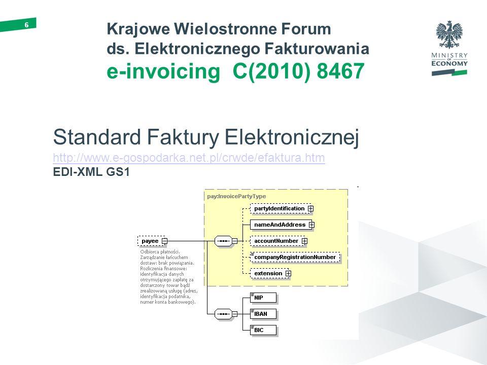 66 Krajowe Wielostronne Forum ds. Elektronicznego Fakturowania e-invoicing C(2010) 8467 Standard Faktury Elektronicznej http://www.e-gospodarka.net.pl