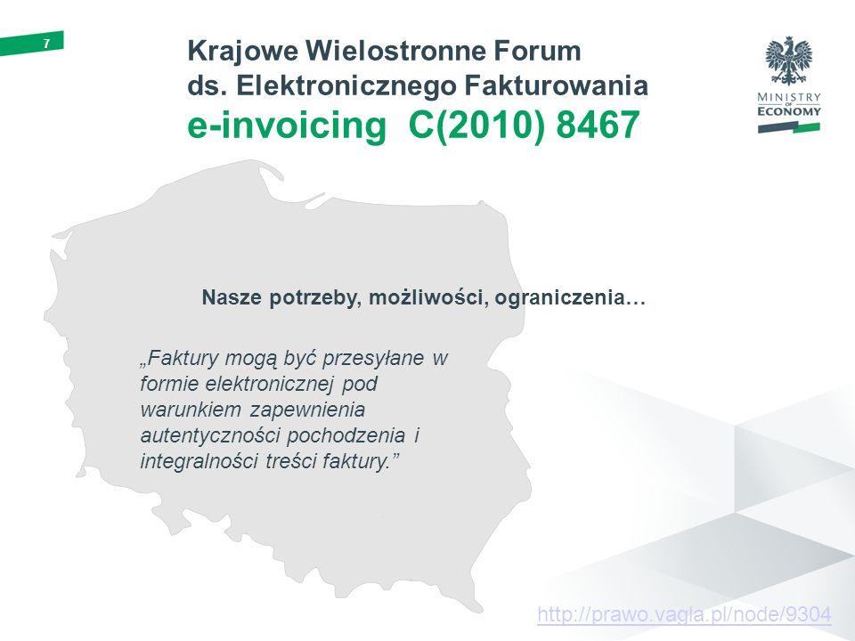 77 Nasze potrzeby, możliwości, ograniczenia… Krajowe Wielostronne Forum ds. Elektronicznego Fakturowania e-invoicing C(2010) 8467 Faktury mogą być prz