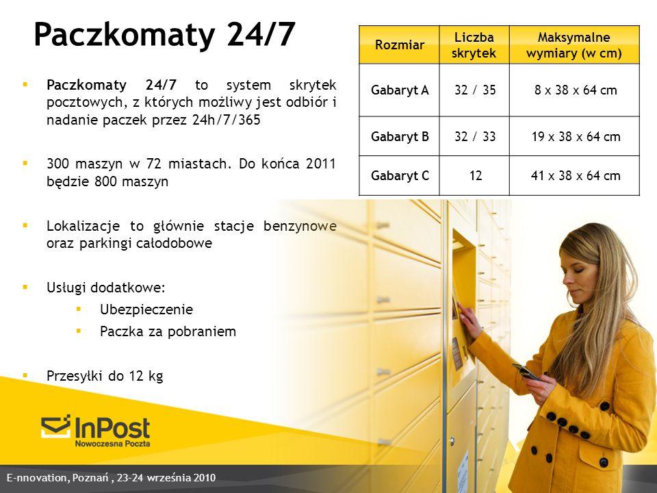 Rozmiar Liczba skrytek Maksymalne wymiary (w cm) Gabaryt A32 / 358 x 38 x 64 cm Gabaryt B32 / 3319 x 38 x 64 cm Gabaryt C1241 x 38 x 64 cm Paczkomaty 24/7 to system skrytek pocztowych, z których możliwy jest odbiór i nadanie paczek przez 24h/7/365 300 maszyn w 72 miastach.