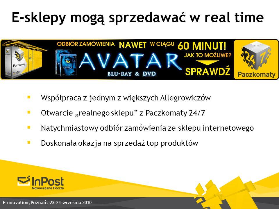 E-sklepy mogą sprzedawać w real time Współpraca z jednym z większych Allegrowiczów Otwarcie realnego sklepu z Paczkomaty 24/7 Natychmiastowy odbiór zamówienia ze sklepu internetowego Doskonała okazja na sprzedaż top produktów E-nnovation, Poznań, 23-24 września 2010