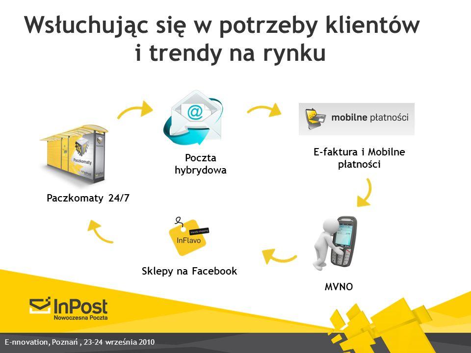 Wsłuchując się w potrzeby klientów i trendy na rynku Poczta hybrydowa E-faktura i Mobilne płatności MVNO Paczkomaty 24/7 Sklepy na Facebook E-nnovation, Poznań, 23-24 września 2010