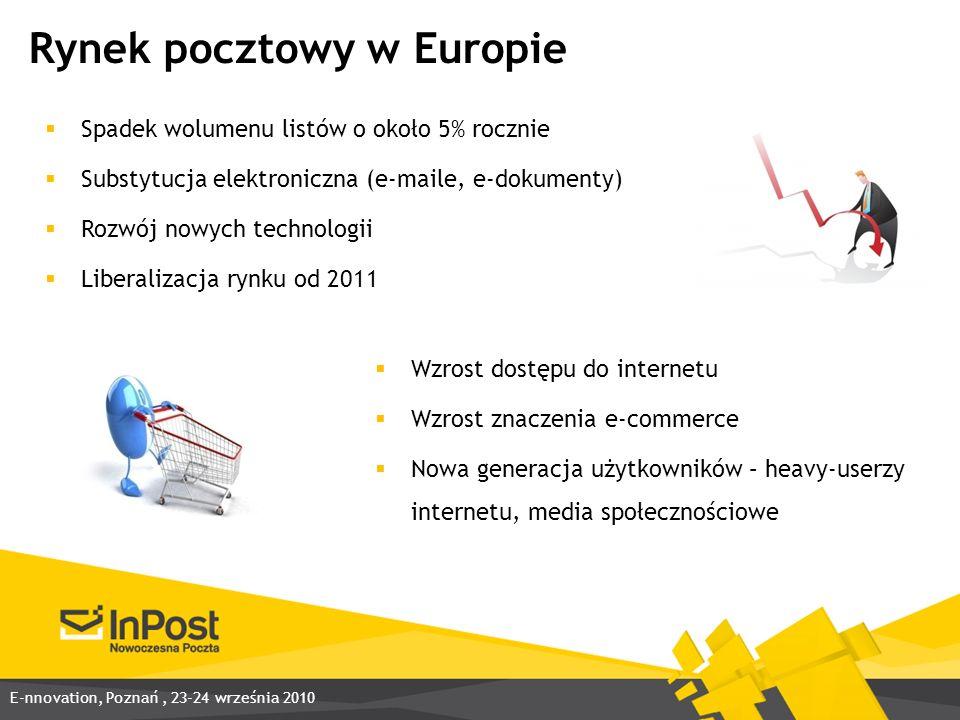 Rynek pocztowy w Europie Spadek wolumenu listów o około 5% rocznie Substytucja elektroniczna (e-maile, e-dokumenty) Rozwój nowych technologii Liberalizacja rynku od 2011 Wzrost dostępu do internetu Wzrost znaczenia e-commerce Nowa generacja użytkowników – heavy-userzy internetu, media społecznościowe E-nnovation, Poznań, 23-24 września 2010