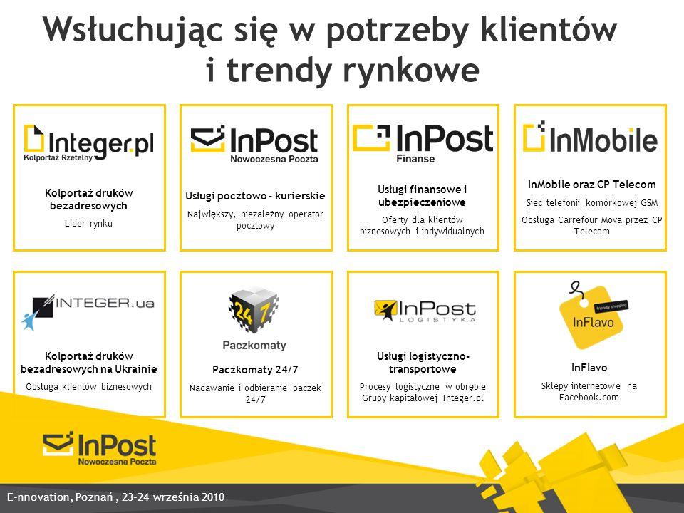 InPost zdobywa pierwsze miejsce na światowym podium Zwycięstwo w międzynarodowym konkursie World Mail Awards 2010 Niekwestionowany lider w kategorii: Wzrost (Growth) Uznanie jury za dynamiczny rozwój na polskim rynku usług pocztowych E-nnovation, Poznań, 23-24 września 2010