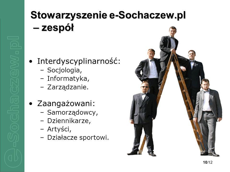 10/12 Stowarzyszenie e-Sochaczew.pl – zespół Interdyscyplinarność: –Socjologia, –Informatyka, –Zarządzanie. Zaangażowani: –Samorządowcy, –Dziennikarze