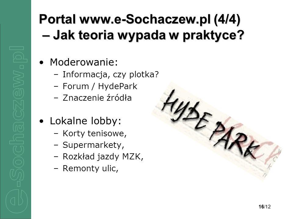 16/12 Portal www.e-Sochaczew.pl (4/4) – Jak teoria wypada w praktyce? Moderowanie: –Informacja, czy plotka? –Forum / HydePark –Znaczenie źródła Lokaln