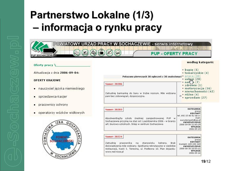 19/12 Partnerstwo Lokalne (1/3) – informacja o rynku pracy