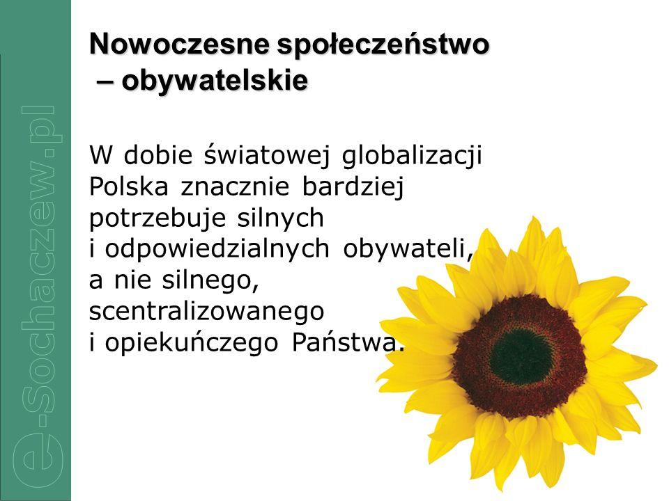2/12 Nowoczesne społeczeństwo – obywatelskie W dobie światowej globalizacji Polska znacznie bardziej potrzebuje silnych i odpowiedzialnych obywateli,