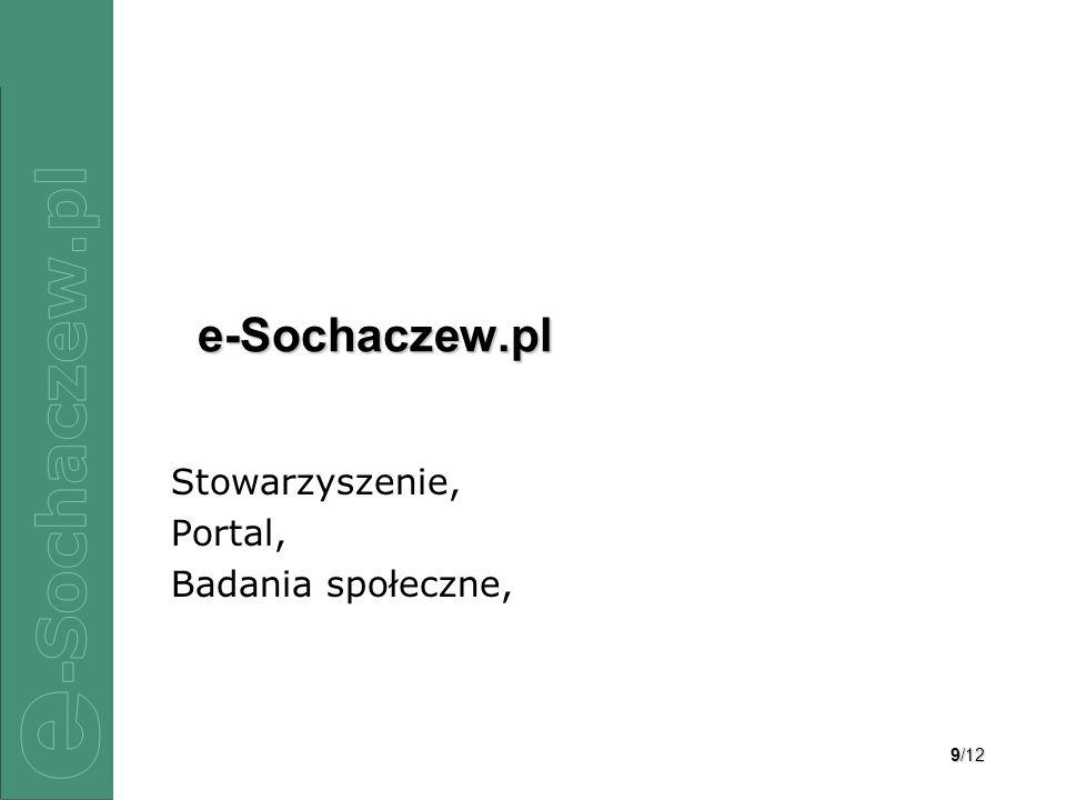 10/12 Stowarzyszenie e-Sochaczew.pl – zespół Interdyscyplinarność: –Socjologia, –Informatyka, –Zarządzanie.