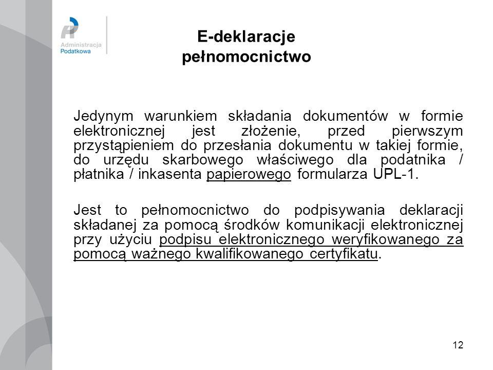 12 E-deklaracje pełnomocnictwo Jedynym warunkiem składania dokumentów w formie elektronicznej jest złożenie, przed pierwszym przystąpieniem do przesła