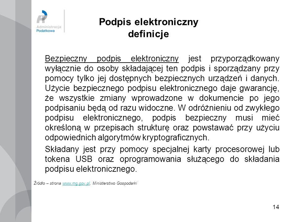 14 Podpis elektroniczny definicje Bezpieczny podpis elektroniczny jest przyporządkowany wyłącznie do osoby składającej ten podpis i sporządzany przy p