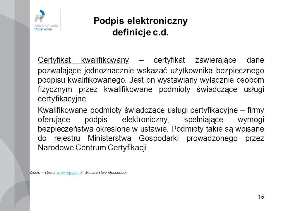 15 Podpis elektroniczny definicje c.d. Certyfikat kwalifikowany – certyfikat zawierające dane pozwalające jednoznacznie wskazać użytkownika bezpieczne