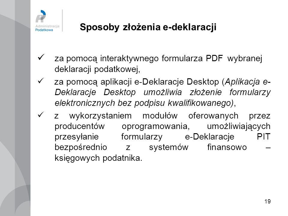 19 Sposoby złożenia e-deklaracji za pomocą interaktywnego formularza PDF wybranej deklaracji podatkowej, za pomocą aplikacji e-Deklaracje Desktop (Apl