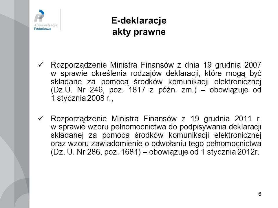 6 E-deklaracje akty prawne Rozporządzenie Ministra Finansów z dnia 19 grudnia 2007 w sprawie określenia rodzajów deklaracji, które mogą być składane z
