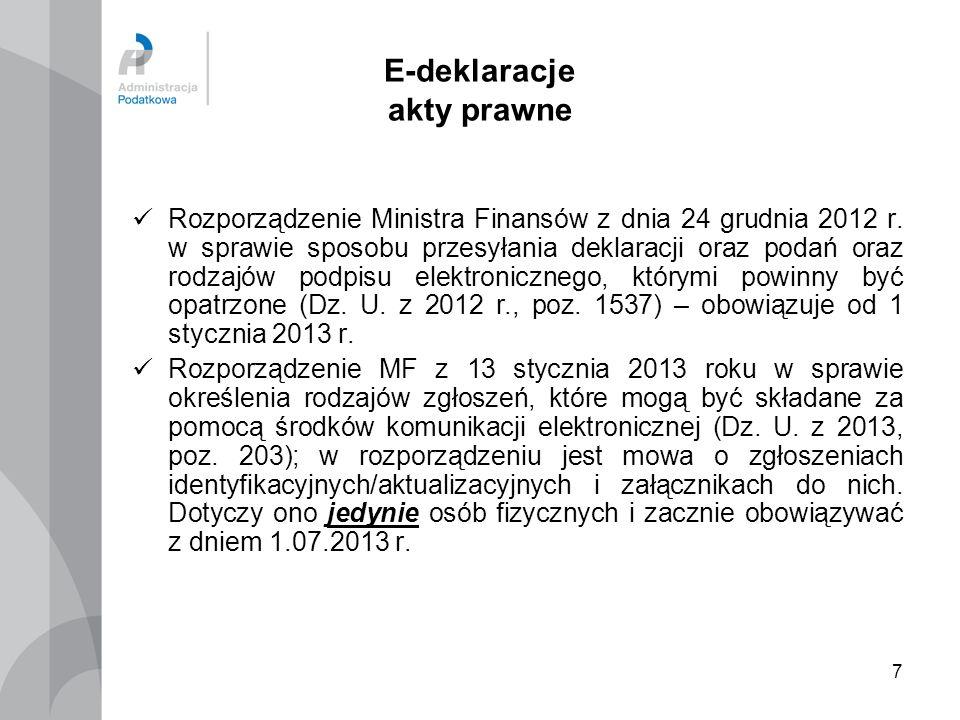 7 E-deklaracje akty prawne Rozporządzenie Ministra Finansów z dnia 24 grudnia 2012 r. w sprawie sposobu przesyłania deklaracji oraz podań oraz rodzajó