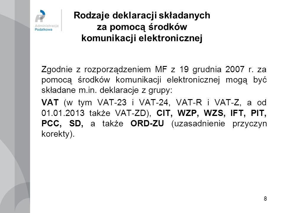 8 Rodzaje deklaracji składanych za pomocą środków komunikacji elektronicznej Zgodnie z rozporządzeniem MF z 19 grudnia 2007 r. za pomocą środków komun