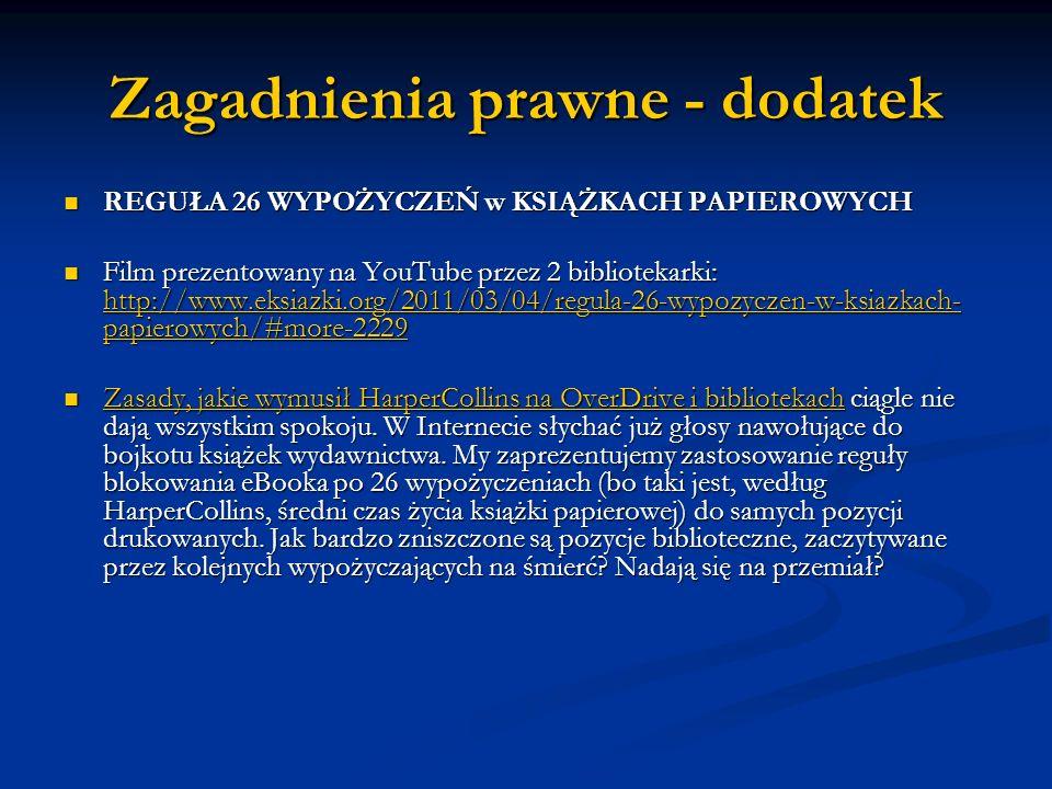 Zagadnienia prawne - dodatek REGUŁA 26 WYPOŻYCZEŃ w KSIĄŻKACH PAPIEROWYCH REGUŁA 26 WYPOŻYCZEŃ w KSIĄŻKACH PAPIEROWYCH Film prezentowany na YouTube pr