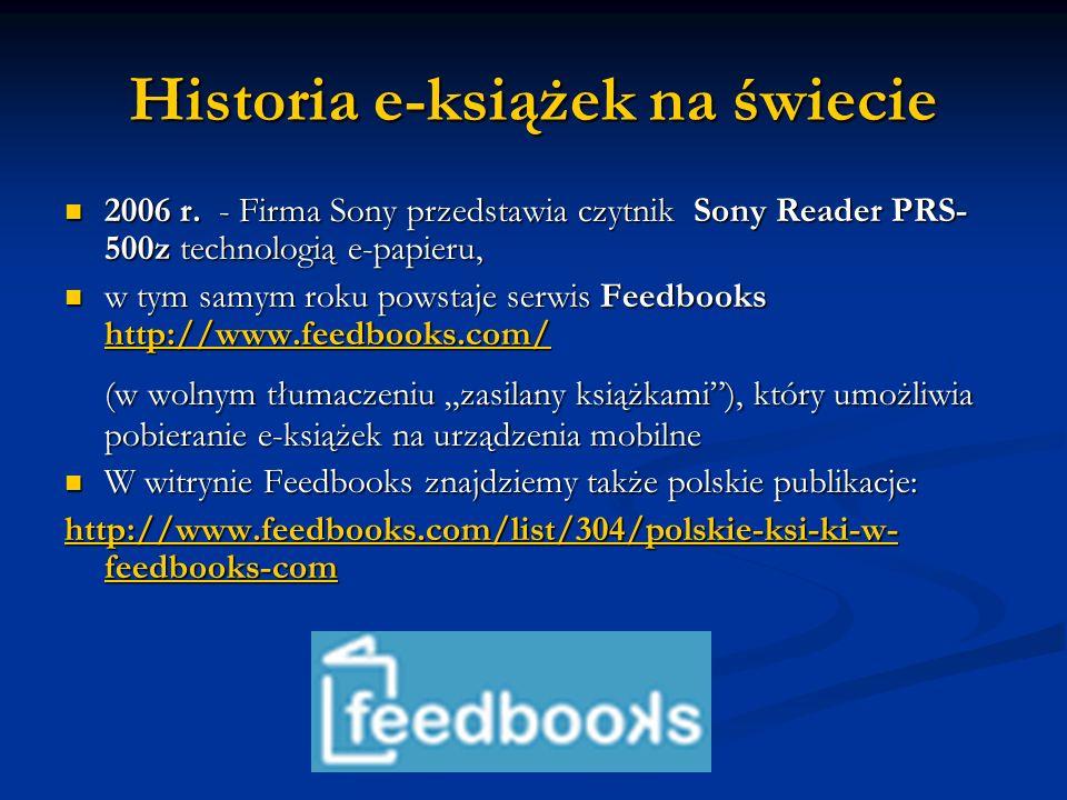 Historia e-książek na świecie 2006 r. - Firma Sony przedstawia czytnik Sony Reader PRS- 500z technologią e-papieru, 2006 r. - Firma Sony przedstawia c
