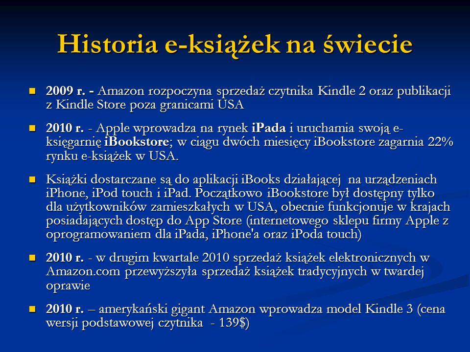 Historia e-książek na świecie 2009 r. - Amazon rozpoczyna sprzedaż czytnika Kindle 2 oraz publikacji z Kindle Store poza granicami USA 2009 r. - Amazo