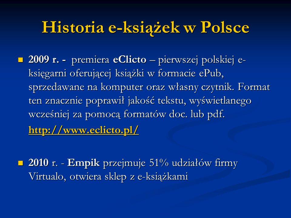 Historia e-książek w Polsce 2009 r. - premiera eClicto – pierwszej polskiej e- księgarni oferującej książki w formacie ePub, sprzedawane na komputer o